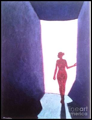 Available For Show Painting - Girl In Doorway - 54 X 36 Acrylic by James Strombotne