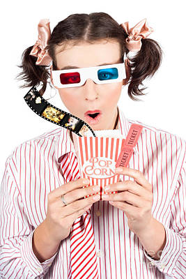 Girl In Pigtails Watching A 3d Comedy Movie Art Print