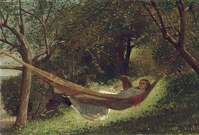 Fishing In Stream Painting - Girl In The Hammock by Celestial Images