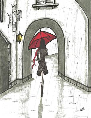 Rain Drawing - Girl In The Rain by Ray Ratzlaff