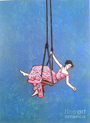 Available For Show Painting - Girl On A Swing - 48 X 36 Acrylic by James Strombotne