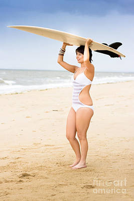 Photograph - Girl Standing With Surfboard by Jorgo Photography - Wall Art Gallery