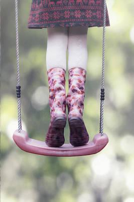 Girl Swinging Art Print