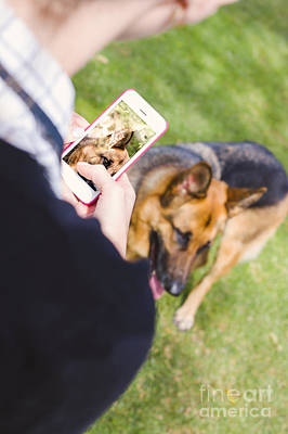 Girl Taking Photo Of Dog With Smart Mobile Phone Art Print by Jorgo Photography - Wall Art Gallery