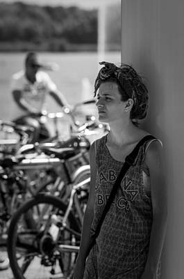 Almere Photograph - Girl Waiting Man Cycling by Paul Donohoe