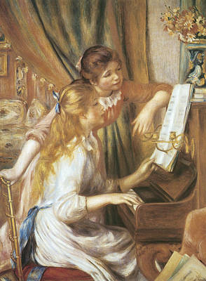 Girl Playing Piano Painting - Girls At The Piano by Pierre-Auguste Renoir