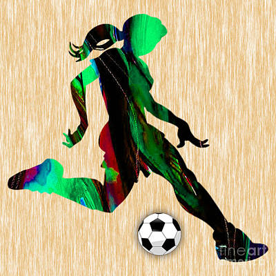 Mixed Media - Girls Soccer by Marvin Blaine