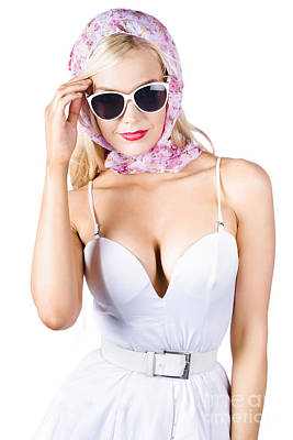 Youthful Photograph - Glamorous Pinup Woman In Head Scarf by Jorgo Photography - Wall Art Gallery
