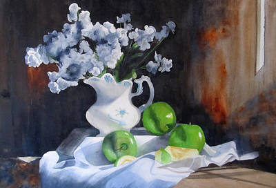 Still Life With Green Apples Painting - Glenda's Still Life by Denny Dowdy