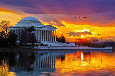 Jefferson Memorial Wall Art - Photograph - Glow by Mitch Cat