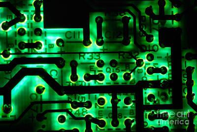Glowing Green Circuit Board Art Print by Amy Cicconi