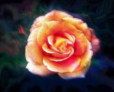 Bright Digital Art - Glowing Rose by Lilia D