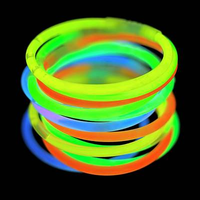 Bangle Photograph - Glowstick Bangles by Science Photo Library