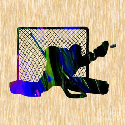 Ice Hockey Mixed Media - Goalie by Marvin Blaine