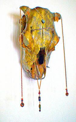 Steer Mixed Media - Gold And Black Illuminating Steer Skull by Mayhem Mediums
