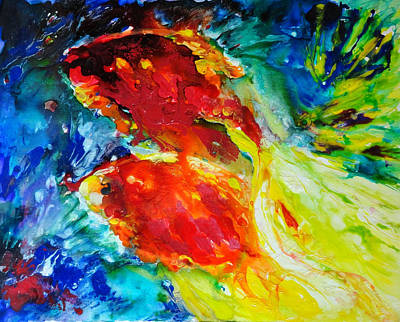 Gold Fish Print by Nelya Shenklyarska