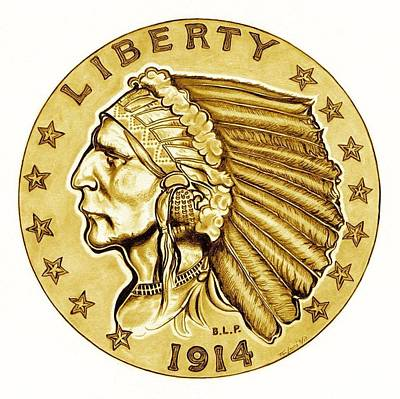 Gold Quarter Eagle Original by Fred Larucci