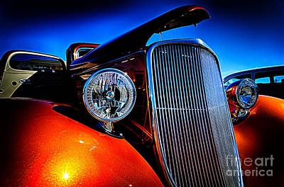 Photograph - Gold Vintage Car At Car Show by Danny Hooks