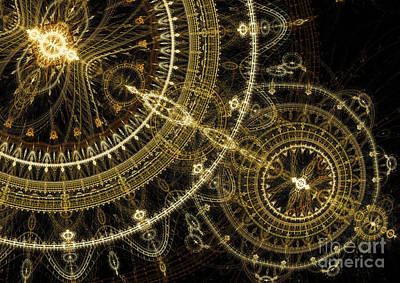 Golden Abstract Circle Fractal Art Print