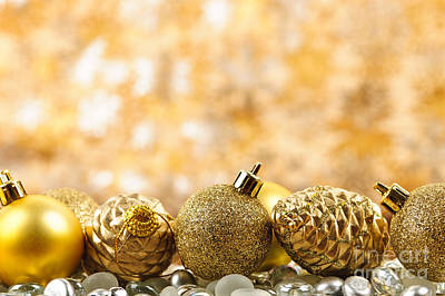 Baubles Photograph - Golden Christmas  by Elena Elisseeva
