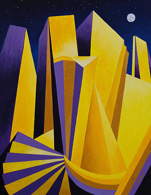 Painting - Golden City 2 by Cheryl Fecht