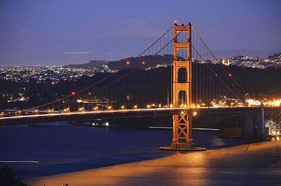 Photograph - Golden Gate Bridge At Night by Alex King