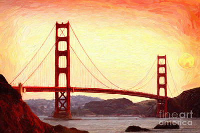 Usa Painting - Golden Gate Bridge San Francisco  by Celestial Images