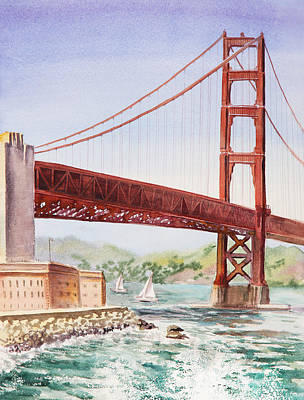 Outdoor Cafe Painting - Golden Gate Bridge San Francisco by Irina Sztukowski