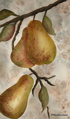 Pear Tree Painting - Golden Pears by Carole Martindale