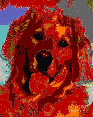 Retriever Digital Art - Golden Retriever by Dalon Ryan
