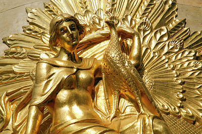 Statuary Photograph - Golden Statuary Decorates The Downtown by Dave Bartruff