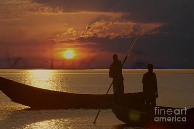 Painting - Golden Sunset Two Fishermen Enjoy The Evening After Days  Hardwork by Navin Joshi