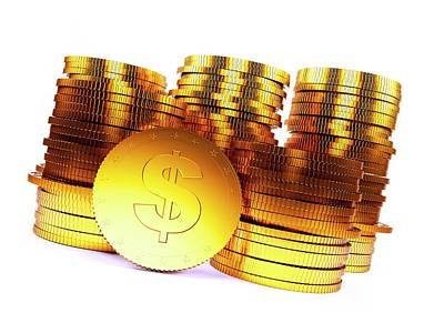 Coins Photograph - Golden Us Dollar Coins by Sebastian Kaulitzki