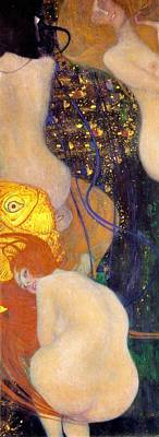 Animals Paintings - Goldfish by Gustav Klimt
