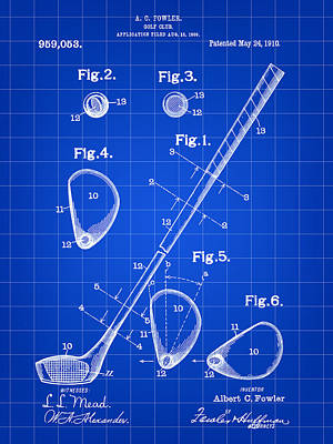 Parchment Digital Art - Golf Club Patent 1909 - Blue by Stephen Younts