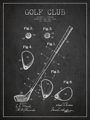 Sports Royalty-Free and Rights-Managed Images - Golf Club Patent Drawing From 1910 by Aged Pixel