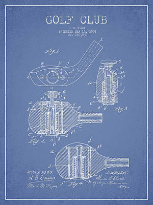 Sports Royalty-Free and Rights-Managed Images - Golf Clubs Patent Drawing From 1904 by Aged Pixel