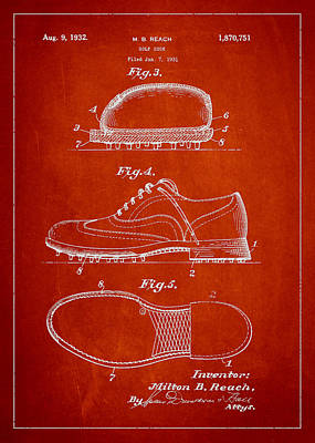 Golf Shoe Patent Drawing From 1931 Art Print