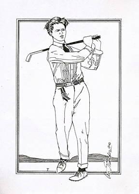 Drawing - Golfer 1915 by Ira Shander