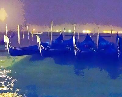 Photograph - Gondolas At Night by David Coblitz