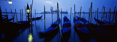 Gondolas Moored In A Canal, Grand Art Print