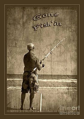 Gone Fish'in Text With Border By John Stephens Art Print by John Stephens
