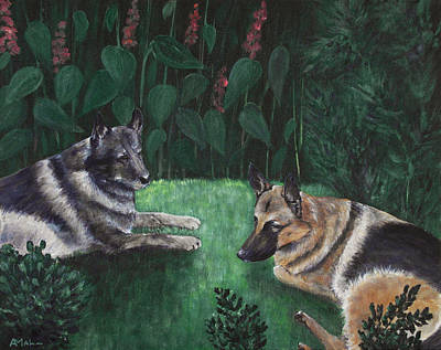 German Shepherd Painting - Good Friends by Anastasiya Malakhova
