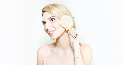 Gorgeous Blonde Listening For The Ocean In A Shell Art Print by Jorgo Photography - Wall Art Gallery