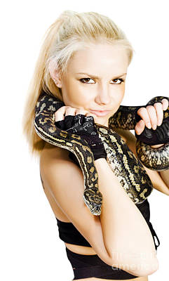 Provocative Photograph - Gorgeous Blonde Snake Handler by Jorgo Photography - Wall Art Gallery