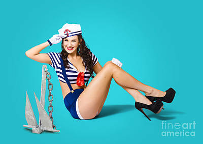 Gorgeous Pin Up Sailor Girl Wearing Hat Art Print