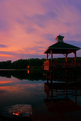 Photograph - Gorton Pond Sunset Warwick Rhode Island by Lourry Legarde