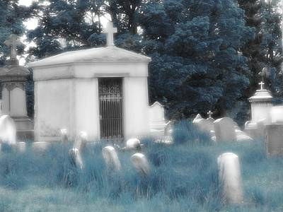 Gothic Blue Graveyard Art Print by Gothicrow Images