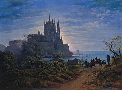 Gothic Church On A Rock By The Sea Art Print by Celestial Images