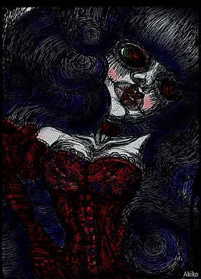 London Tube Mixed Media - Gothic Corset Lady by Akiko Okabe